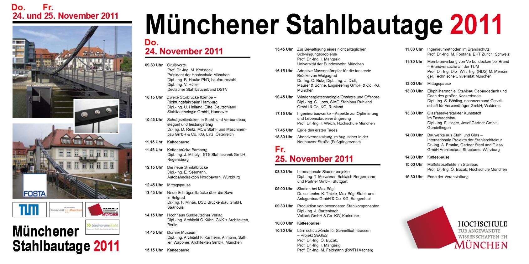 Fachtagung Münchner Stahlbautage am. Do., 24.11 und Fr., 25.11.2011 an der  Hochschule München - Flyer + Anmeldung hier -